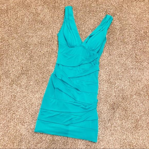 Emerald Sundae Dresses & Skirts - Blue Pleated Bodycon Dress